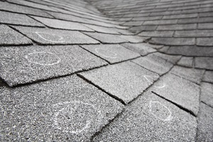 hail damage on shingle tiles